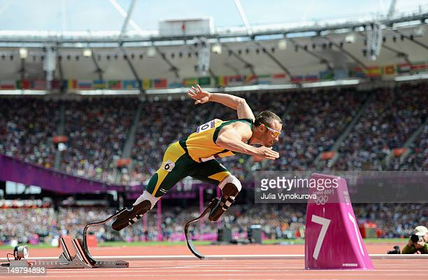 Oscar Pistorius of South Africa competes in the Men's 400m Round 1 heat on Day 8 of the 2012 London Olympic Games at the Olympic Stadium in London,...