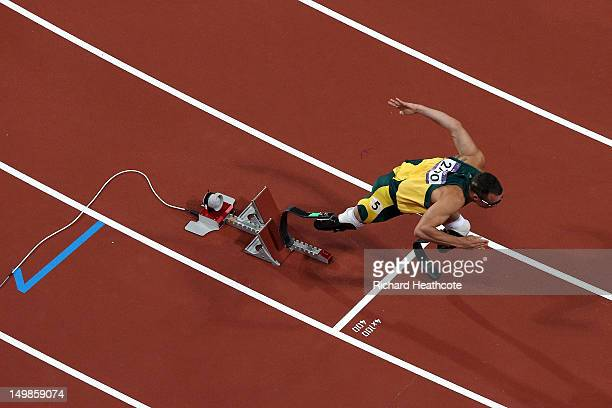 Oscar Pistorius of South Africa competes in the Men's 400m semifinal on Day 9 of the London 2012 Olympic Games at the Olympic Stadium on August 5...