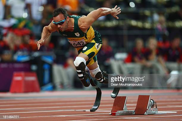 Oscar Pistorius of South Africa competes in the Men's 400m T44 heatson day 9 of the London 2012 Paralympic Games at Olympic Stadium on September 7,...