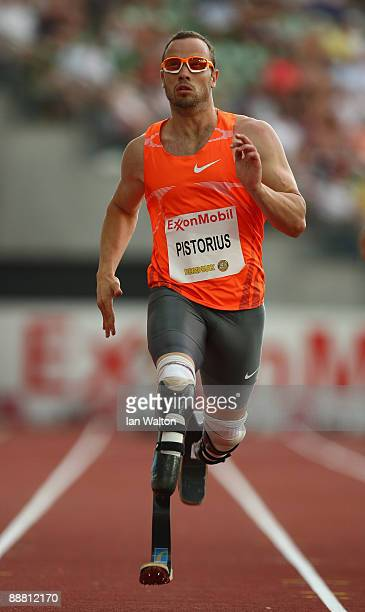 Oscar Pistorius of South Africa in action during the 400m Bfinal during the IAAF Golden League Bislett Games on July 3 2008 in Oslo Norway