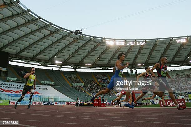 Oscar Pistorius of South Africa in action during the men's 400m 'B' race at the IAAF Golden Gala meeting at the Olympic Stadium on July 132007 in...