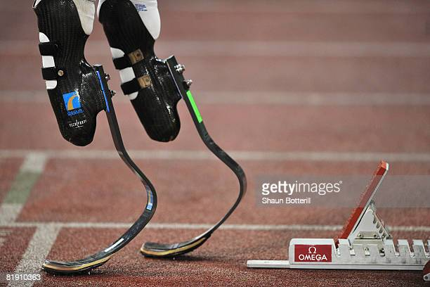 Oscar Pistorius of South Africa prepares to compete in the Mens 400m B Race during the IAAF Golden Gala at the Stadio Olimpico on July 11 2008 in...