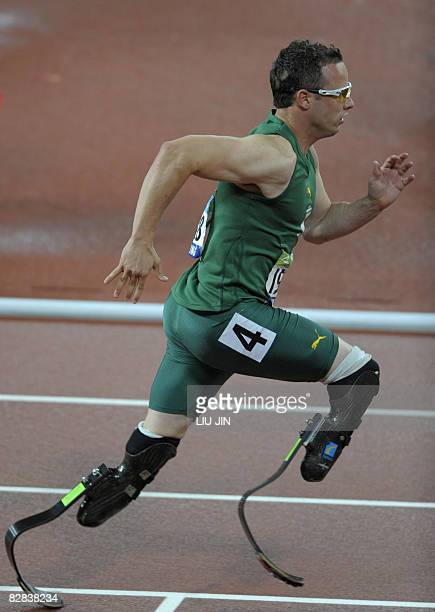 Oscar Pistorius of South Africa runs in the men's 400m T44 final during the 2008 Beijing Paralympic Games at the National Stadium in Beijing on...