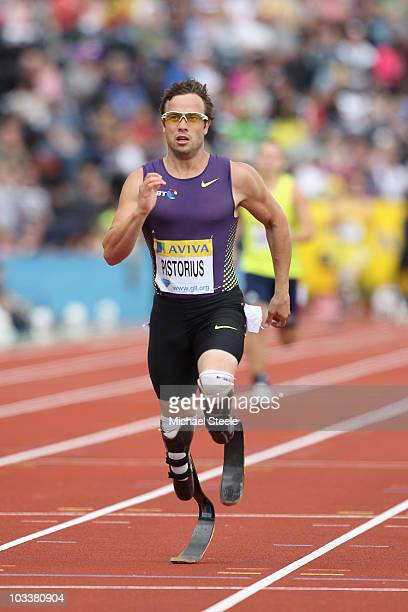 Oscar Pistorius of South Africa sets a new world record in the T44 400m during the Aviva London Grand Prix at Crystal Palace on August 14, 2010 in...