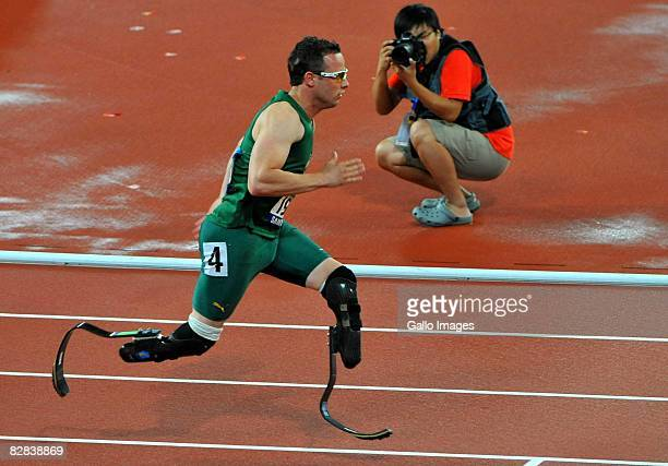 Oscar Pistorius of South Africa wins Gold with a World Record in the 400m T44 during day 10 of the 2008 Beijing Paralympic Games held in Beijing China