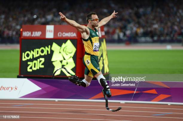 Oscar Pistorius of South Africa wins the Men's 400m T44 on Day 10 of the London 2012 Paralympic Games at the Olympic Stadium on September 8 2012 in...