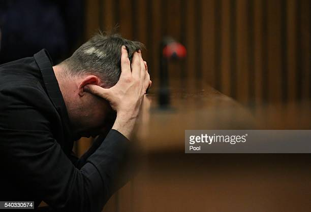 Oscar Pistorius reacts during the third day of Oscar's hearing for a resentence at Pretoria High Court on June 15, 2016 in Pretoria, South Africa....