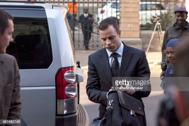 Oscar Pistorius returns to North Gauteng High Court after the judge ordered that he should undergo mental evaluation for a month on June 30, 2014 in...