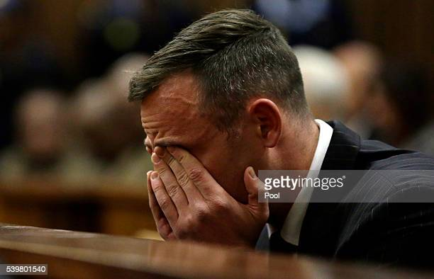 Oscar Pistorius sits in the dock during his sentencing hearing at North Gauteng High Court don June 13, 2016 in Pretoria, South Africa. Having had...