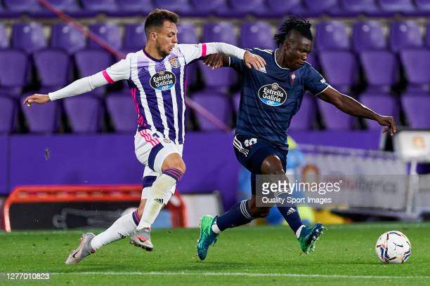 Oscar Plano of Real Valladolid battle for the ball with Joseph Aidoo of RC Celta during the La Liga Santander match between Real Valladolid CF and RC...