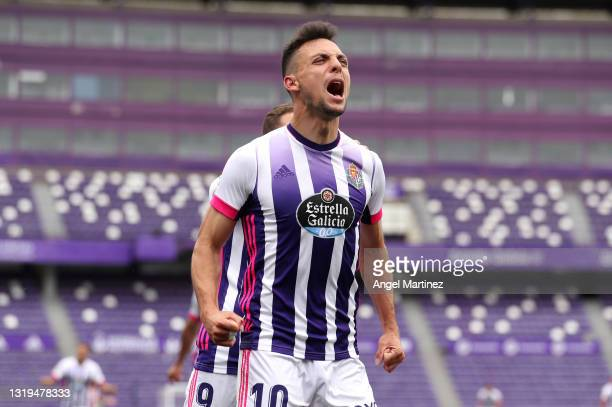 Oscar Plano of Real Valladolid celebrates after scoring their side's first goal during the La Liga Santander match between Real Valladolid CF and...