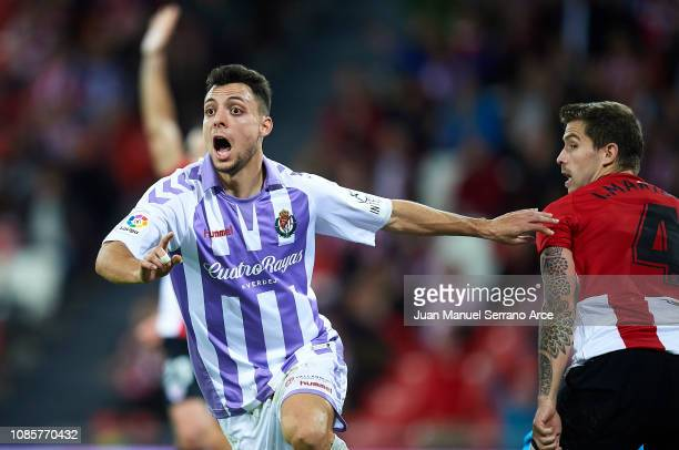 Oscar Plano of Real Valladolid CF celebrates after scoring the equalizer during the La Liga match between Athletic Club and Real Valladolid CF at San...