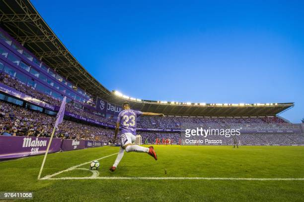 Oscar Plano of Real Valladolid in action during the La Liga 123 play off match between Real Valladolid and Club Deportivo Numancia at Jose Zorilla...