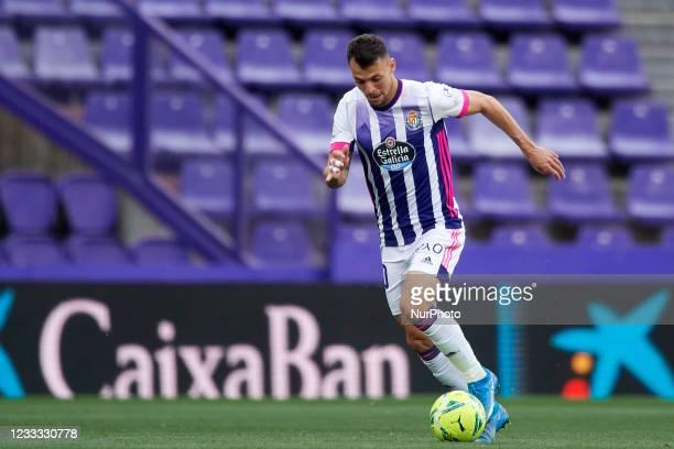 Oscar Plano of Valladolid runs with the ball during the La Liga Santander match between Real Valladolid CF and Atletico de Madrid at Estadio...