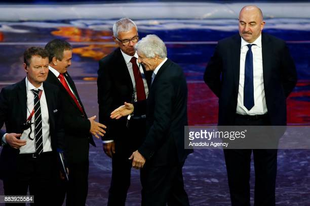 Oscar Ramirez of Costa Rica Hector Cuper of Egypt Jose Pekerman of Colombia and Stanislav Cherchesov of Russia are seen after the 2018 FIFA World Cup...