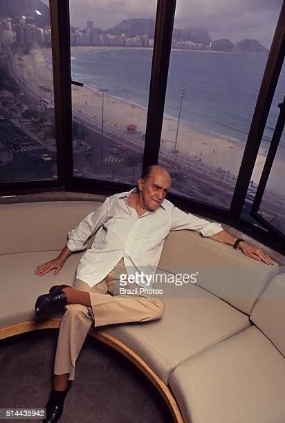 Oscar Ribeiro de Almeida Niemeyer Soares Filho known as Oscar Niemeyer photographed in 1990 in his apartment at Copacabana beach Rio de Janeiro was a...