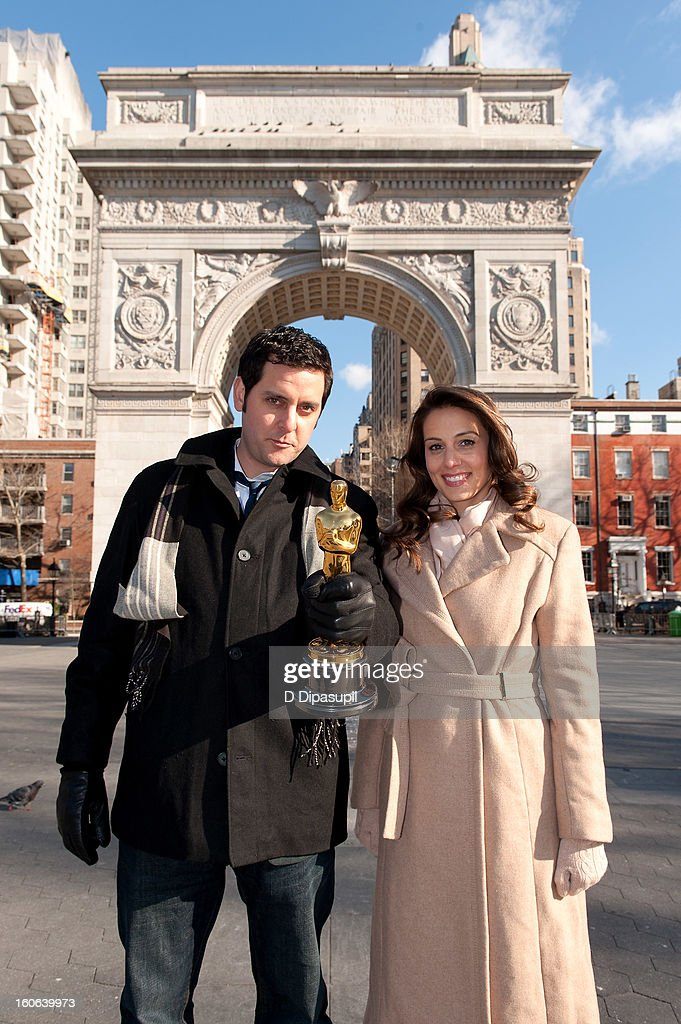 Oscar Roadtrip reporters Ben Gleib (L) and Angie Greenup attend the 2012 Oscar Roadtrip at Washington Square Park on February 4, 2013 in New York City.