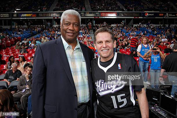Oscar Robertson and Sacramento Kings owner, Joe Maloof pose for a picture during the game between the Oklahoma City Thunder and the Sacramento Kings...