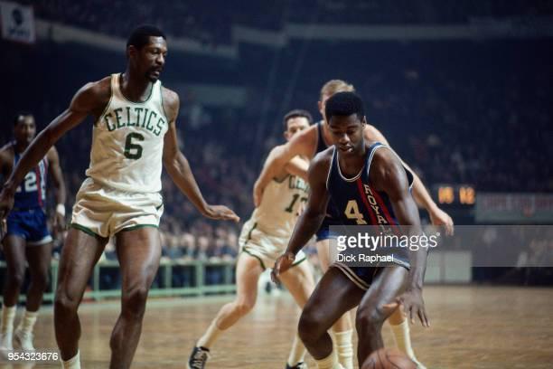 Oscar Robertson of the Cincinnati Royals handles the ball against the Boston Celtics circa 1968 at the Boston Garden in Boston, Massachusetts. NOTE...
