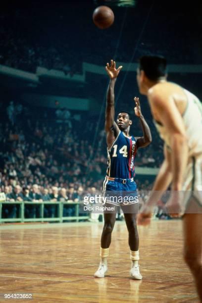 Oscar Robertson of the Cincinnati Royals shoots a free throw against the Boston Celtics circa 1968 at the Boston Garden in Boston, Massachusetts....