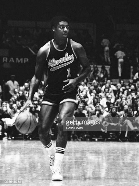 Oscar Robertson, Point Guard for the Milwaukee Bucks, during an NBA Basketball game against the New York Knicks at Madison Square Garden, New York,...