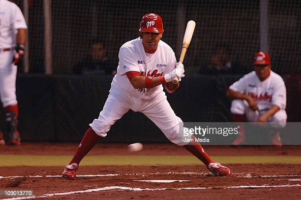 Oscar Robles of Red Devils in action during a match against Saraperos de Saltillo as part of Game 1 Playoffs of Mexican baseball league at Sol Forum...