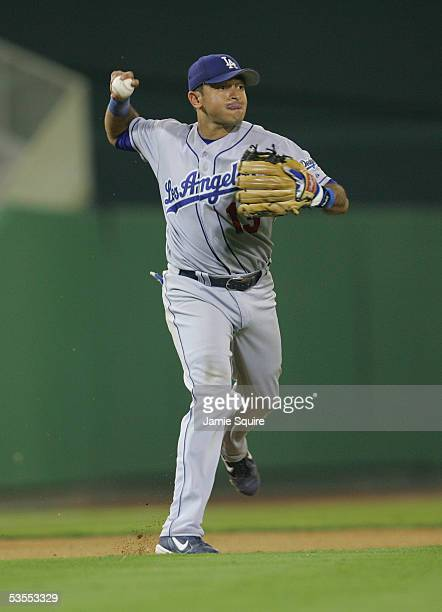 Oscar Robles of the Los Angeles Dodgers throws the ball during the game against the of the Washington Nationals on August 4 2005 at RFK Stadium in...