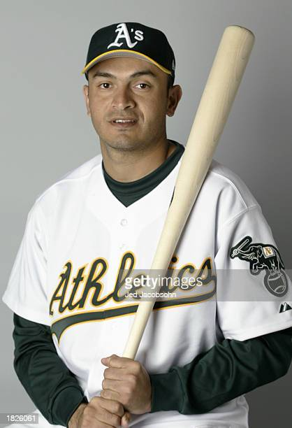 Oscar Robles of the Oakland A's poses for a portrait during the A's Spring Training media day at the Phoenix Municipal Stadium on February 25 2003 in...