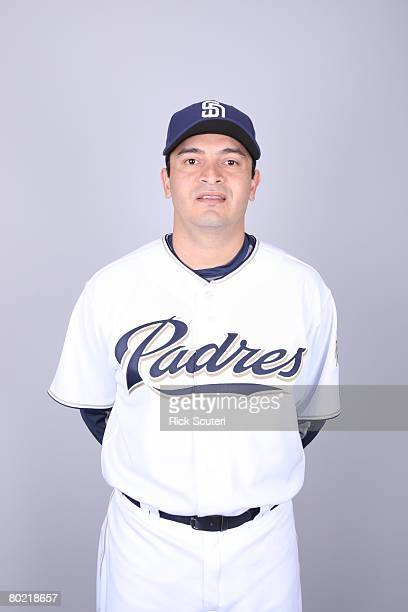 Oscar Robles of the San Diego Padres poses for a portrait during photo day at Peoria Stadium on February 22 2008 in Peoria Arizona
