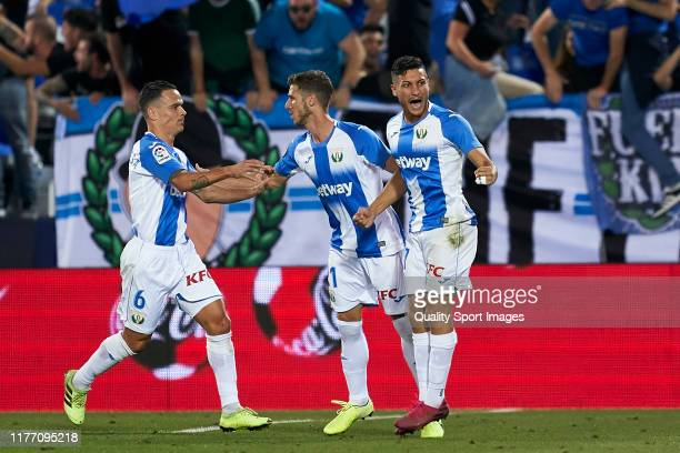 Oscar Rodriguez of CD Leganes celebrates after scoring his team's first goal during the Liga match between CD Leganes and Athletic Club at Estadio...