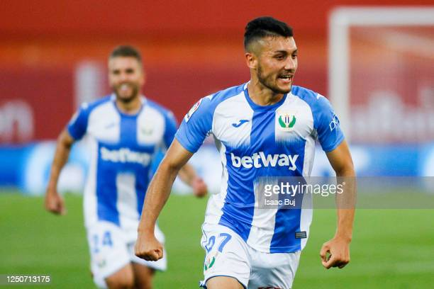 Oscar Rodriguez of CD Leganes celebrates after scoring his team's first goal during the Liga match between RCD Mallorca and CD Leganes at Visit...