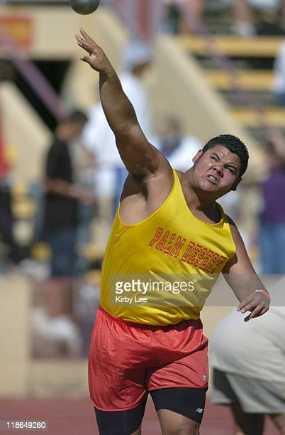 Oscar Rodriguez of Palm Desert was the No 4 qualifer in the boys' shot put at 59105 in the CIFState Track Field Championships at Sacramento City...