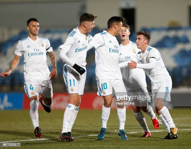 Oscar Rodriguez of Real Madrid celebrates with his teammates after scoring during the UEFA Youth Champions League group H match between Real Madrid...