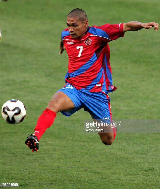 Oscar Rojas of Costa Rica takes control of the ball against the United States during the CONCACAF preliminary match on July 12, 2005 at Gillette...
