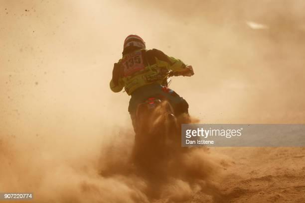 Oscar Romero Montoya of Spain and TeslaTamega Rally rides a KTM bike in the Classe 22 Marathon during stage thirteen of the 2018 Dakar Rally between...