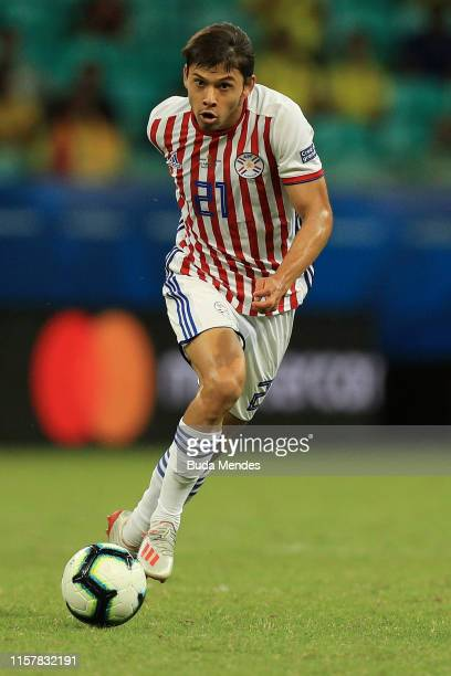 Oscar Romero of Paraguay controls the ball during the Copa America Brazil 2019 group B match between Colombia and Paraguay at Arena Fonte Nova on...