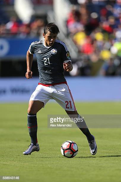 Oscar Romero of Paraguay is seen during the 2016 Copa America Centenario Group A match between Costa Rica and Paraguay at Camping World Stadium on...