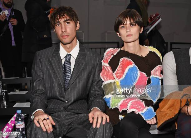 Oscar Scheller and Lara Mullen attends the Christopher Raeburn show during London Fashion Week Men's January 2018 at BFC Show Space on January 7 2018...