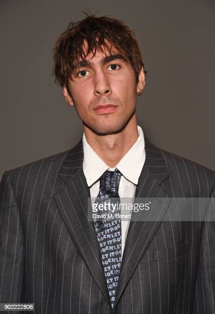 Oscar Scheller attends the Christopher Raeburn show during London Fashion Week Men's January 2018 at BFC Show Space on January 7 2018 in London...