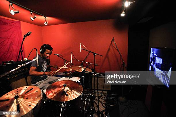 Oscar Seaton plays drums during the Kaylene Peoples My Man CD recording session featuring Bobby Lyle on October 22 2013 at the Mouse House Studio in...