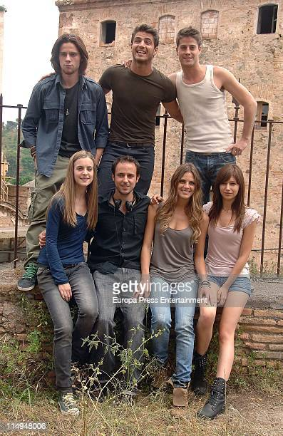 Oscar Sinela Maxi Iglesias and Luis Fernandez Alba Ribas an unknown person Amaia Salamanca and Ursula Corbero pose during a portrait session on the...