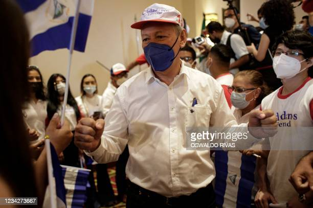 Oscar Sobalvarro, former head of the Nicaraguan Resistance and presidential candidate for the Alianza Ciudadana por la Libertad party, attends a...
