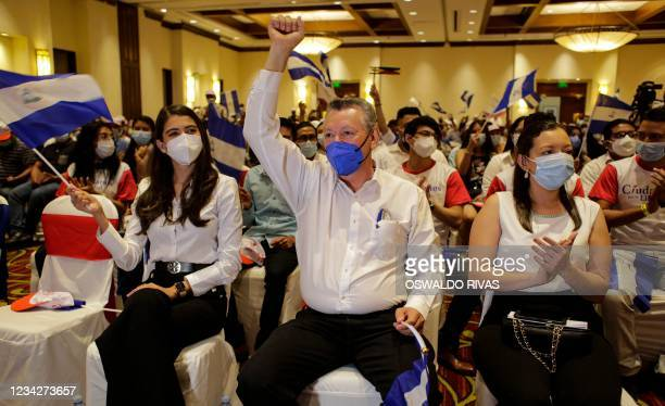 Oscar Sobalvarro, former head of the Nicaraguan Resistance, and Berenice Quezada, miss Nicaragua 2017, presidential candidate and running mate...