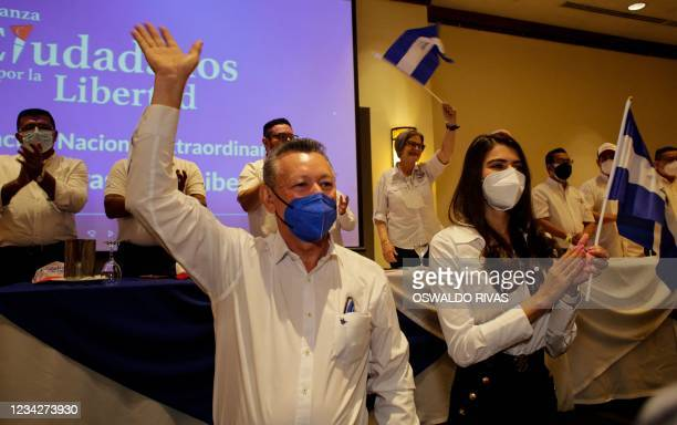 Oscar Sobalvarro, former head of the Nicaraguan Resistance, and Berenice Quezada, miss Nicaragua 2017, presidential candidate and running mate for...