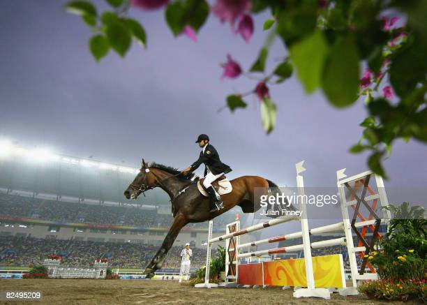 Oscar Soto of Mexico competes in the Men's Modern Pentathlon Riding Show Jumping held at the OSC Stadium during Day 13 of the Beijing 2008 Olympic...