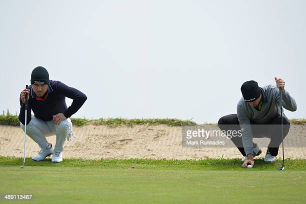 Oscar Stark of Sweden and Julien Guerrier of France line up their putts on the 4th green during the Madeira Islands Open - Portugal - BPI at Club de...