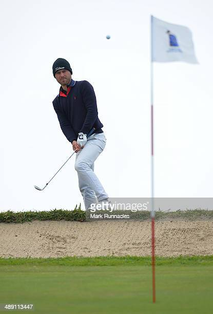 Oscar Stark of Sweden chips over the rear bunker at the 4th green during the Madeira Islands Open - Portugal - BPI at Club de Golf do Santo da Serra...