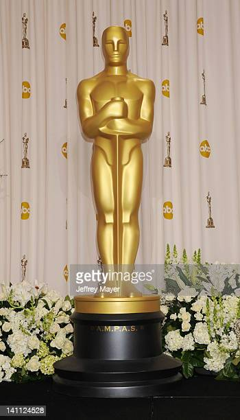 Oscar statue poses in the press room at the 84th Annual Academy Awards held at Hollywood Highland Center on February 26 2012 in Hollywood California