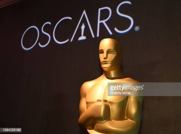 Oscar statue watches over the 91st Oscars Nominees Luncheon at the Beverly Hilton hotel on February 4 2019 in Beverly Hills