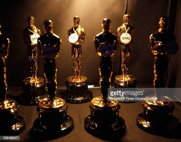 Oscar statues are displayed backstage at the 83rd Annual Academy Awards held at the Kodak Theatre on February 27 2011 in Hollywood California